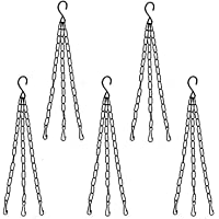 COIR GARDEN Metal S-hook Type Chain For Hanging Pots, Black, 15 in, 5 Pieces
