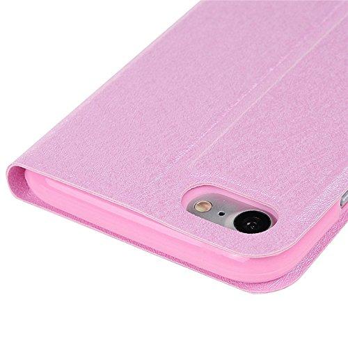 iPhone 7 Hülle, Yokata PU Lederhülle Flip Case mit Blumen Motif Kartenfach Brieftasche Magnet Cover + 1*Stylus Pen - Weiß Rosa