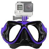 QUMOX Natation Plongée en apnée Masque de plongée pour la caméra de Sport Action helmetcamera Gopro Hero 2/3/3 + / 4 SJ4000 SJ5000 SJ5000+ SJcam wifi FHD HD 1080p 720p pourpre bleu