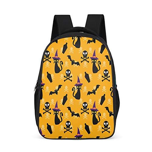 QVOOD Kinderrucksack Schulrucksack Halloween Katze Fledermaus Kinder-Rucksack Kindergartentasche Kindergartenrucksack Mode Daypack für Teenager Grey l32*w18*h42cm (Aussehen Katze Halloween)