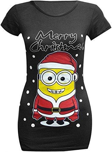 T-Shirt für Frauen Design: Ich - Einfach unverbesserlich 2- Minion, Weihnachts-T-Shirt, schmale Passform, Größe 34-54 Gr. 42-44, Black Minion T (Designs Weihnachten Shirts T)