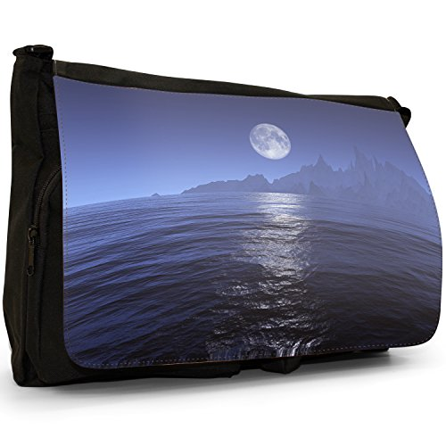 Fancy A Bag Borsa Messenger nero Rickety Wooden Pier In Water Opposite Mountains Full Moon Over Mountains From The Sea