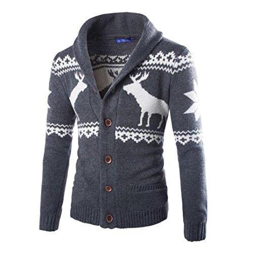 *Elecenty Herren Weihnachten Sweatshirt Sweater Strickjacke Cardigan Christmas Männer Xmas Knitwear Coat Jacket Weihnachtspullover Pullover Strickpullover strickmantel strickwaren (XL, Dunkelgrau)*