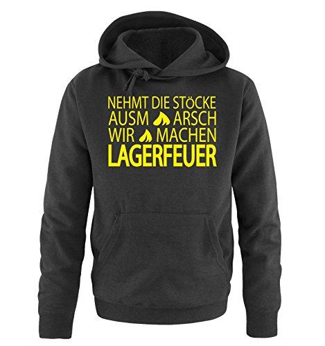 Comedy-Shirts -  Felpa con cappuccio  - Maniche lunghe  - Uomo Schwarz / Neongelb