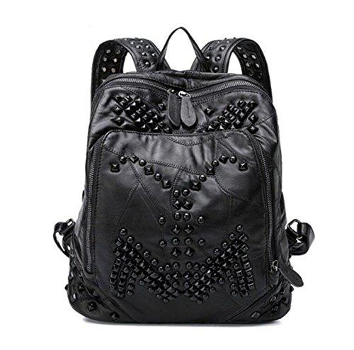 Frauen Echtes Leder Rucksäcke Mode Neue Nieten Casual Taschen Damen Handtaschen Reise Schultasche Black