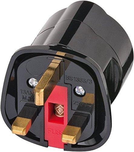 2 Stück Brennenstuhl Reisestecker Adapter, Steckdosenadapter Reise (Für: England Steckdose und Euro Stecker) Farbe: schwarz