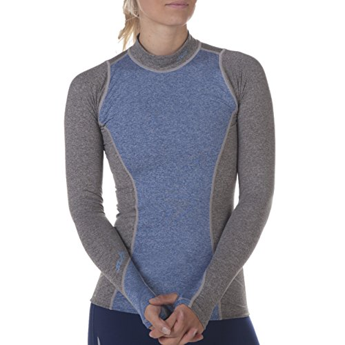 Sub Sports Fitted Cold Damen Thermo-Unterhemd, Langarm mit Kragen, M, Hellgrauer Mergel -