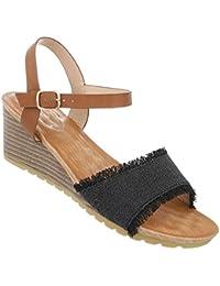 Damen Schuhe Sandaletten Keilabsatz Wedges Plateau Pumps Festliche Abendschuhe