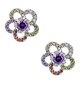 Orecchini Donna, cerchio fiore multicolore zirconia cubica, Orecchini a perno 1020901x