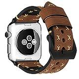 MroTech Uhrenarmband für Apple Watch Armband 42mm echt Lederarmband iWatch Ersatzarmband kompatibel für Apple Watch Serie 1/2/ 3, Sport Edition Nike+ (42mm, Braun-Schwarz)