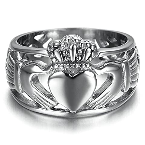Stainless Steel Ring for Men, Heart Crown Ring Gothic Silver Band 15MM Size T 1/2 Epinki