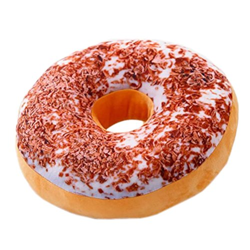 Nunubee Zierkissen Dekorative Donuts Kopfkissen PP Baumwolle Sofakissen Dekokissen Schaumstoff Gefüllt Spielzeug, Tiramisu