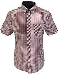 Ben Sherman Red/Blue/White Checked Tab Check Short Sleeved Shirts