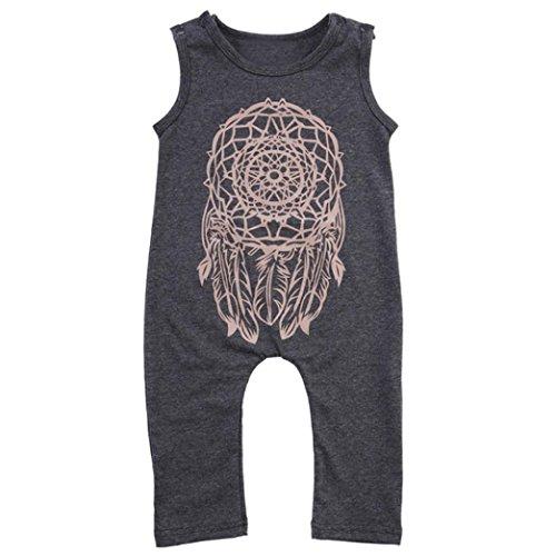 Bluestercool Combinaisons et Barboteuses Bébé Filles Garçon Sans Manches Dreamcatcher Romper Jumpsuit Outfits (2T, Gris)