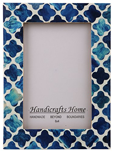 Handicrafts Home Picture Photo Frame Indigo Moorish Quatrefoil Mosaic Frames-Indigo-2