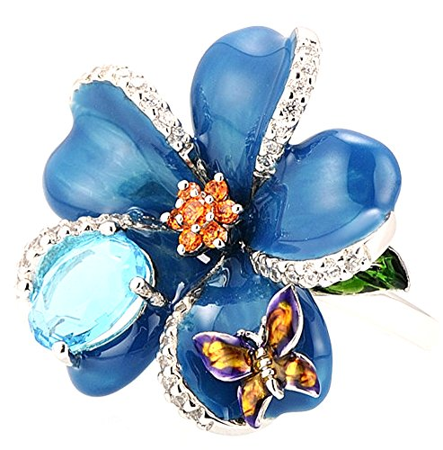 SaySure - Silver Rings Blue Flower Mini Butterfly (SIZE : 5.5) -