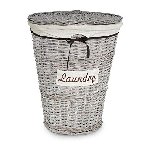 Carillo portabiancheria in salice laundry tondo con interno in tessuto s129