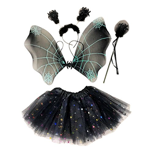 erling Kostüm für Mädchen - 4-teiliges Set - Feenflügel / Schmetterlingsflügel Verkleiden - Halloween Spinne (Schwarze Fee Kostüme)