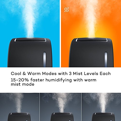 TaoTronics TT-AH006 DE Luftbefeuchter mit heiß und kalt Dampf Funktion