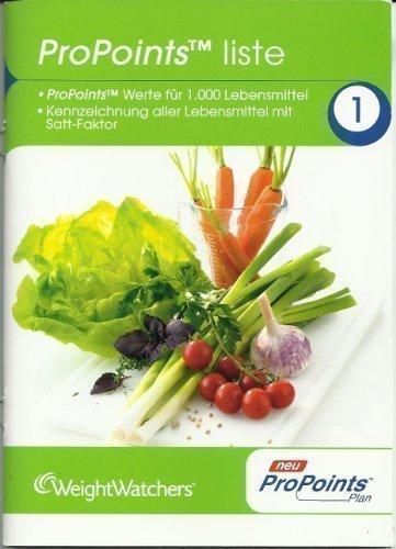 Weight Watchers ProPoints Liste. ProPoints Werte für 1000 Lebensmittel Weight Watcher Punkte