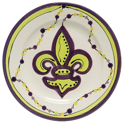 Caffco International Dana Wittmann Collection Keramikteller, 26 cm Durchmesser, Mardi Gras Fleur De Lis