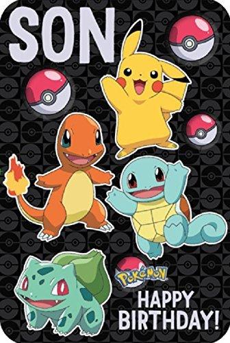 Pokémon Geburtstagskarte für den Sohn, in englischer Sprache, Aufschrift Son