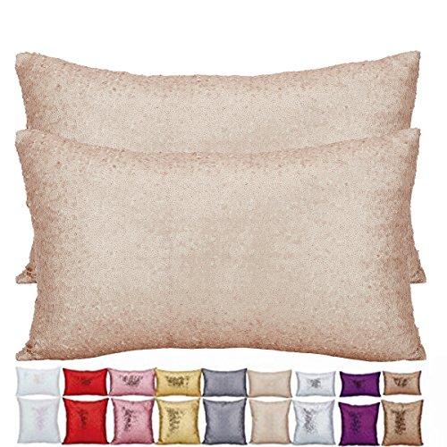 Plandv® - Lot de 2 housses de coussin en coton unies avec paillettes, différentes couleurs et tailles disponibles, beige, 30x50cm