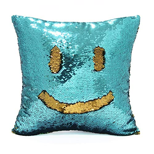 NORTH FIELD Sequin Mermaid Throw Pillow Cover with Magical Color Changing Reversible Paulette Design Decor Cushion Pillowcase Set of 1 (16X16 inch) (Aqua/Gold)