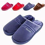 GHJK OPLYT Calzado de casa de algodón cálido Winter Comfort Memory Foam Home Zapatillas de casa de Felpa Zapatos Antideslizantes para Hombres Mujeres, Dark Blue,Chancletas
