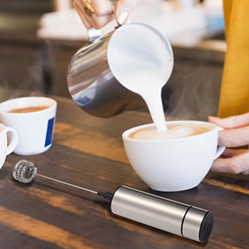 Skymore Macchina di schiuma ad alta efficienza per caffè / latte / uova con soffietto doppio a molla e testa tripla a sbalzo della molla, regalo perfetto (non include la batteria) - 3