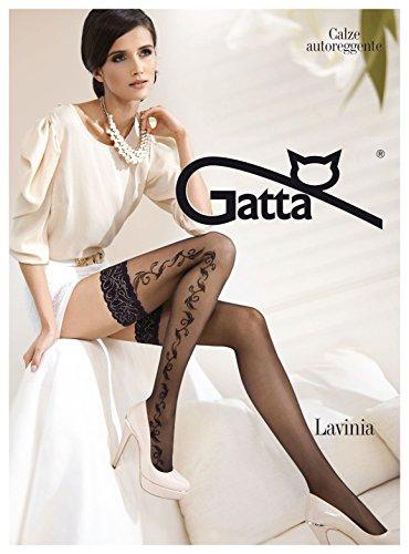 Gatta Lavinia 19 - sexy elegant gemusterte halterloser Strümpfe - Stay-Ups mit Floral-/ Blumenmuster - Größe 3-4 / M-L - Schwarz (Ups Stay Satin)