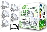 5x greenandco® CRI 90+ LED Spot dimmbar ersetzt 40 Watt GU10 Halogenstrahler, 7W 470 Lumen 3000K warmweiß COB LED Strahler 38° 230V AC Glas mit Schutzglas, flimmerfrei, 2 Jahre Garantie