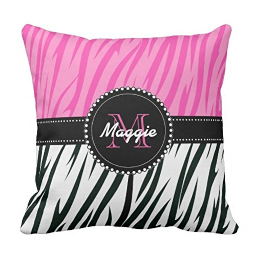 wuqing Nero e Rosa Zebra Stampa personalizzata Monogram Girly Throw Pillow Cover 45,7x 45,7cm