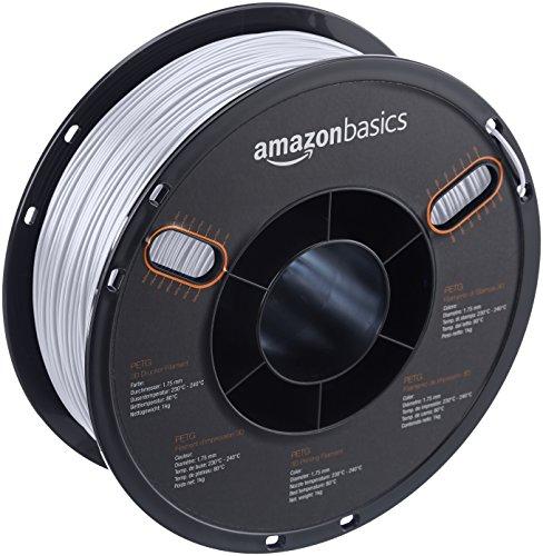 AmazonBasics – Filamento de PETG para impresora 3D, 1,75mm, Translúcido, bobina de 1kg