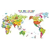 1 PCS Colorful Animal World Map Wall Sticker For Kids Rooms Bedroom Decor