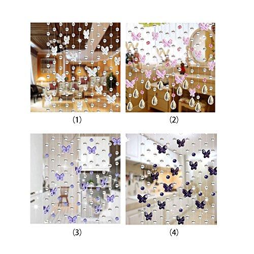 51FT4Wt5hkL - FAVOLOOK Cortina de cuentas de cristal con mariposas, cadena de araña, rollo de cuerda de cuentas para bricolaje, decoración de Navidad o boda, Morado claro, Tamaño libre