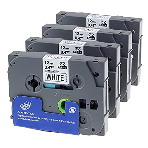 Unistar 4 Roll Tape Cassettes TZe-231 TZ-231 Black on White 12mm x 8m - Standard Adhesive Laminated Label Tapes - Suitable for Brother P-Touch PT-1000 PT-1080 PTE-550WVP Label Printer