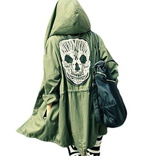 Damen Punk Kapuzen Mantel - hibote Skull Schädel Cardigan Trench Bolero Parka Kapuzenpullover Zipper Hoodie Military Style in Einheitsgröße (Big Kinder-jeans-bekleidung)