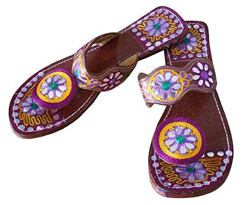 kalra Creations Étui à rabat en cuir traditionnel Indien de femmes Tongs Multicolore