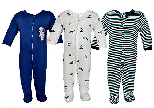 NammaBaby Multi Color Romper Body Suite for New Born baby Pack Of 3 (6-9 months, Blue)