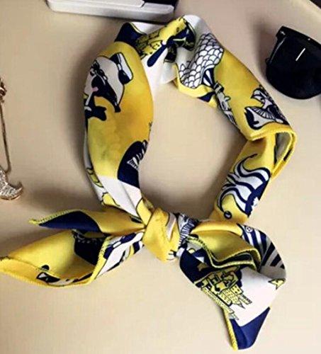 GTD Schal, Weiblich, Sommer, Druck, kleine Schals, Satin, kleines Quadrat, Haarband, Dual Use, Schals, 70 * 70 (Anzug Männchen Orange)