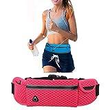 YOOKOON Sport Taille Tasche Blet Tasche mit Tasche Kapazität Gürtel Tasche für iPhone/iPod-exklusive Kopfhörer-Loch-Kabel und reflektierende Streifen für die Nacht Sichtbarkeit für das laufen, Radfahren, Wandern Travel. (Pink)