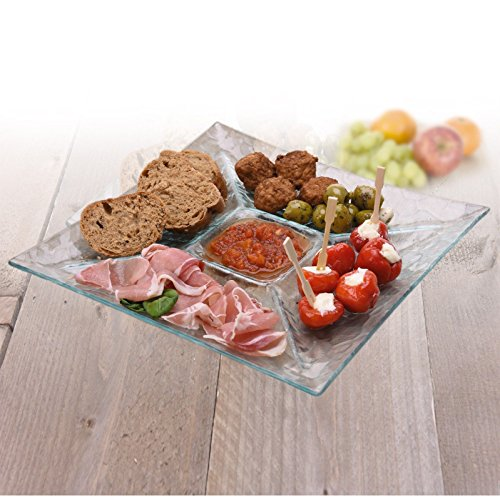 Large Glass Serving Plate Snack ...