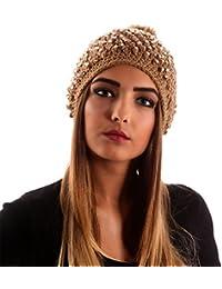 Damen Mütze Strickmütze Strasssteinen