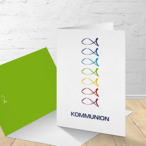 """5 Karten zur Kommunion mit passenden Umschlägen, Motiv """"bunte Fische"""", Einladungskarten zur Kommunion, Klappkarten im Set zu 5 Stk."""