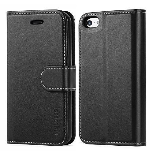 Mulbess Business Style Ledertasche im Ständer Book Case / Kartenfach für Apple iPhone 5C Tasche Hülle Leder Etui,Schwarz