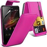 (Pink) Sony Xperia L Custom Designed Stilvolle Accessoires zur Auswahl Schutzmaßnahmen Kunst Credit / Debit-Karten-Leder Flip Case Hülle & LCD-Display Schutzfolie von Hülle Spyrox