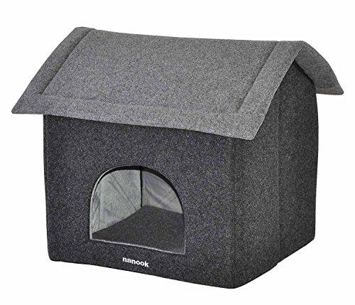 nanook Jolly - Katzenhöhle Hundehöhle Filz - für Katzen und kleine Hunde - Farbe: grau - Größe L