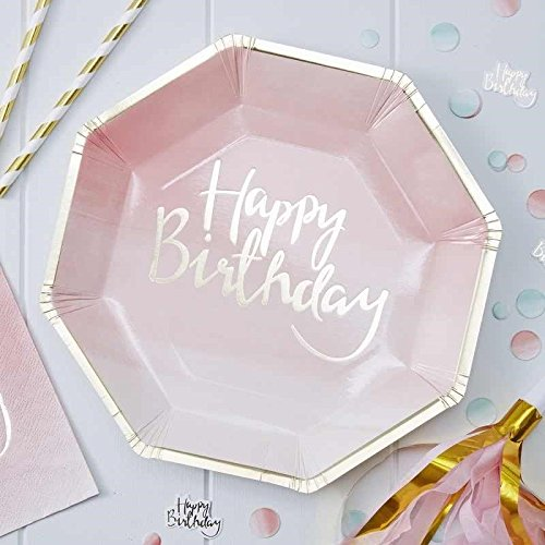 8 Assiettes Happy Birthday Rose et Or 5055995904227