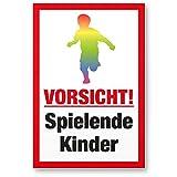 Vorsicht spielende Kinder Kunststoff Schild